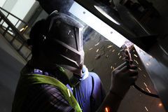 Het staal van het lassen Stock Foto's