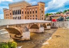 Het stadhuis Bosnië van Sarajevo Stock Foto's