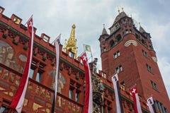Het Stadhuis van Bazel in Bazel, Zwitserland stock afbeeldingen