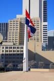 Het stadhuis van Dallas vlaggen en de bouw royalty-vrije stock afbeeldingen
