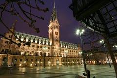 Het stadhuis van de nacht Stock Afbeelding