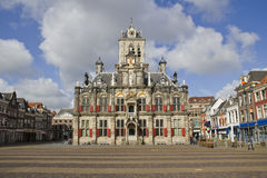 Het Stadhuis van Delft, Holland Stock Afbeeldingen