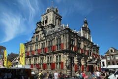 Het Stadhuis van Delft, Nederland Stock Afbeelding