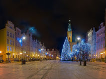 Het Stadhuis van Gdansk Bij nacht Stock Afbeelding