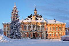 Het Stadhuis van Kuopio in de winter, Finland Stock Afbeelding