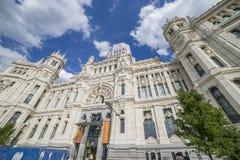 Het Stadhuis van Madrid of het vroegere Paleis van Mededelingen, stock afbeelding