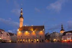 Het Stadhuis van Tallinn op Marktvierkant bij nacht, Estland royalty-vrije stock foto