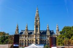 Het Stadhuis van Wenen, Oostenrijk, mooie de zomermening stock afbeeldingen