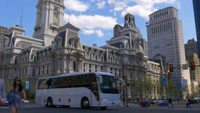 Het stadhuis vierkant verkeer 4k Pennsylvania de V.S. van Philadelphia van de de zomerdag stock video