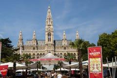 Het Stadhuis vooraanzicht van Wenen Stock Foto