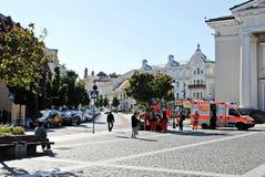 Het stadhuisplaats van de Vilniusstad op 24 September, 2014 Royalty-vrije Stock Foto