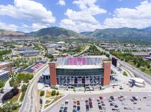 "Het Stadion luchtmening Salt Lake City, Utah, de V.S. van Rice†""Eccles Stock Foto"