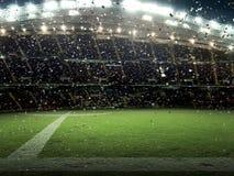 Het stadion met ventilators de nacht de gelijke viert het kampioenschap royalty-vrije stock afbeelding