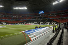 Het stadion van de Arena van Donbass een uur vóór de gelijke Stock Foto