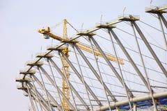 Het Stadion van de voetbal in aanbouw Stock Foto