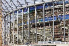 Het Stadion van de voetbal in aanbouw Stock Afbeeldingen