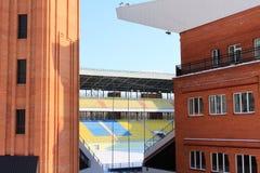 Het stadion van de voetbal in de winter Royalty-vrije Stock Foto's