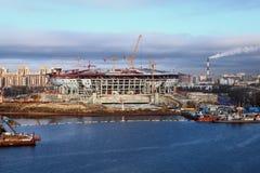Het stadion van het voetbal in aanbouw Stock Foto