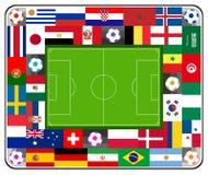 Het stadion van het voetbalvoetbal van vlaggen wordt gemaakt die Stock Afbeeldingen