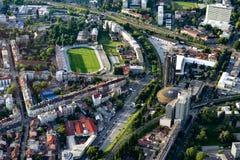 Het stadion van Zagreb van lucht Stock Afbeeldingen