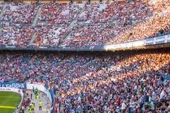 Het stadionbleachers van Vicente Calderon, Madrid Stock Foto's