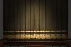 Het stadium in het theater met de weg lichten Stock Foto's