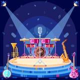 Het stadium van het jazzfestival, vector vlakke illustratie Van muziekinstrumenten en schijnwerpers materiaal op scènepodium royalty-vrije illustratie