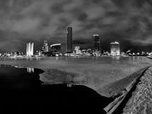 Het stadscentrum van de winter en vijver bij nacht stock foto