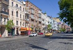 Het stadscentrum van Kiev, Lev Tolstoy-straat, de Oekraïne Royalty-vrije Stock Afbeelding