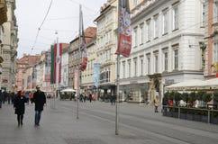 Het stadsleven bij de hoofdstraat Stock Fotografie
