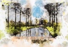 Het stadsleven in waterverfstijl Royalty-vrije Stock Afbeeldingen