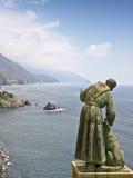 Het standbeeld cinque terra Italië van heilige Francis royalty-vrije stock afbeelding