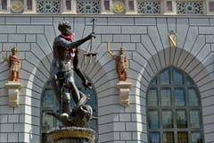 Het standbeeld en de fontein van Neptunus in Gdansk - Danzig Royalty-vrije Stock Foto's