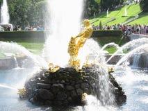 Het standbeeld in het de Zomerpaleis in St. Petersburg Royalty-vrije Stock Foto