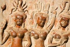 Het standbeeld van Aspara in Angkor Wat, Kambodja Royalty-vrije Stock Afbeeldingen