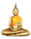 Het standbeeld van Boedha in bladgoud wordt geregeld dat isoleert Royalty-vrije Stock Afbeelding