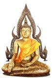 Het standbeeld van Boedha in bladgoud wordt geregeld dat isoleert Royalty-vrije Stock Afbeeldingen