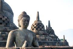 Het standbeeld van Boedha in Borobudur-Tempel in Yogyakarta, Java, Indonesië Royalty-vrije Stock Fotografie