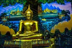 Het standbeeld van Boedha in de tempel van Wat Rai Khing stock foto