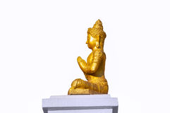 Het standbeeld van Boedha, Engel op een witte achtergrond wordt geïsoleerd die Royalty-vrije Stock Foto's