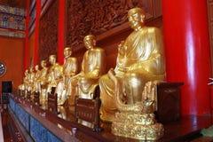 Het standbeeld van Boedha, gipspleister op Chinese tempel Royalty-vrije Stock Fotografie