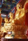 Het standbeeld van Boedha, gipspleister op Chinese tempel Stock Foto's