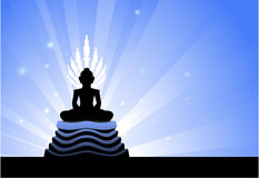 Het standbeeld van Boedha op blauwe gloeiende achtergrond Stock Foto