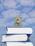 Het standbeeld van Boedha op de boeken. Stock Foto