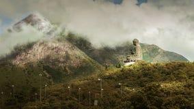 Het standbeeld van Boedha op de bovenkant van berg in Hongkong Stock Afbeeldingen