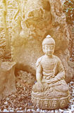 Het standbeeld van Boedha op een uitstekend effect en een onduidelijk beeld en lawaai stock afbeelding