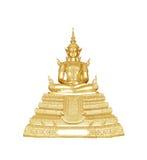 Het standbeeld van Boedha op witte achtergrond wordt geïsoleerd die Stock Afbeelding