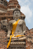 Het standbeeld van Boedha in openbare oude tempel, Ayuthay, Thailand Royalty-vrije Stock Foto