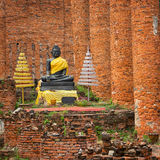 Het standbeeld van Boedha in tempelruïne. Ayuthaya, Thailand Royalty-vrije Stock Foto's