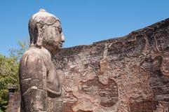 Het standbeeld van Boedha in Vatadage zijaanzicht dichte omhooggaand Royalty-vrije Stock Foto's